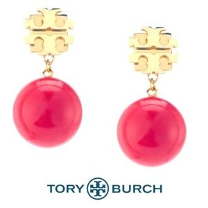 NWT Tory Burch Evie Red Pearl Drop Earrings